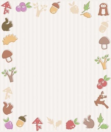animal themes: Frame with woodland icons Illustration