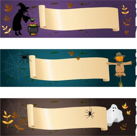 treats: Banners de Halloween Vectores