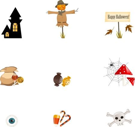 autumn scarecrow: Halloween symbols Illustration