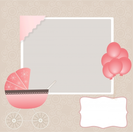 newborn baby girl: Baby card Illustration