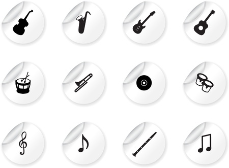 Stickers with musical icons Vector
