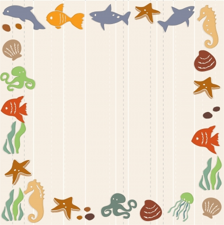 Frame with sea life Vector