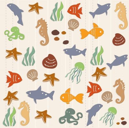 alga: Seamless ocean life pattern 2