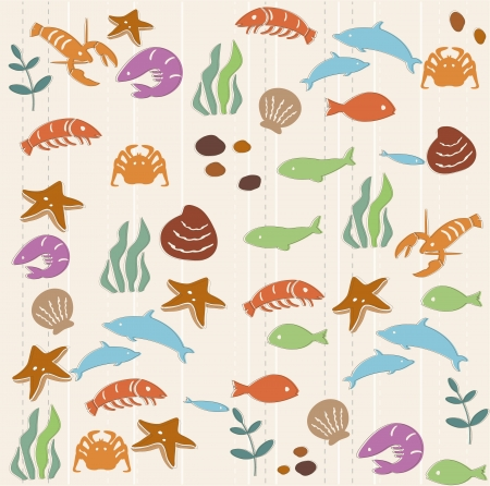 fish icon: Seamless ocean life pattern Illustration