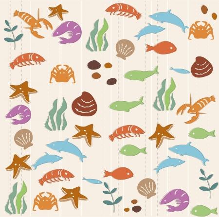 Seamless ocean life pattern Illustration