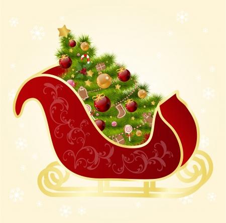 christmas sleigh: Christmas greeting card