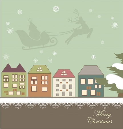 new year s santa claus: Christmas card with a winter town