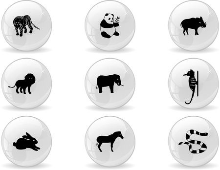 Web buttons, animal icons  Vector