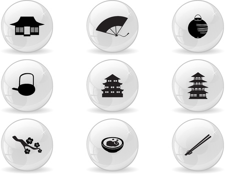 japanese temple: Web buttons, japan icons Illustration
