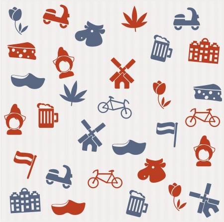 the netherlands: Nederlandse naadloze patroon Stock Illustratie