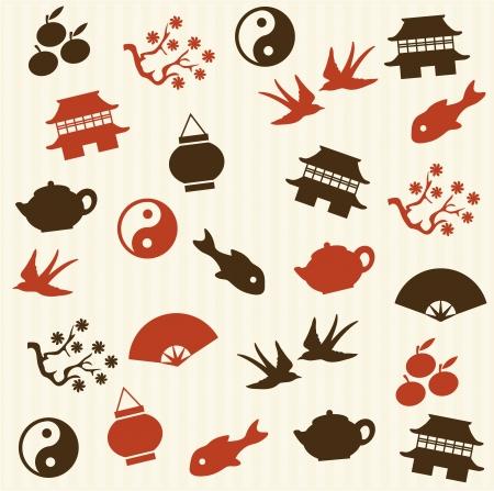 kelet ázsiai kultúra: Ázsiai seamless pattern Illusztráció