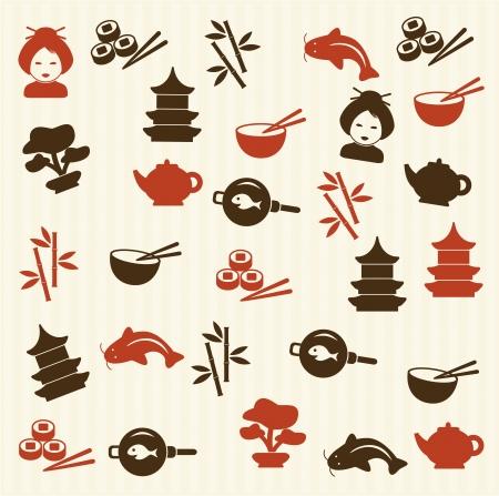 japanese temple:  Japanese seamless pattern