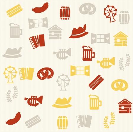 german sausage: German seamless pattern Illustration