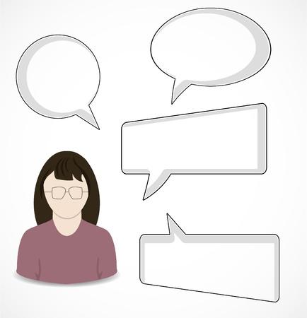 personne seule: Bulles Femme et de la parole Illustration