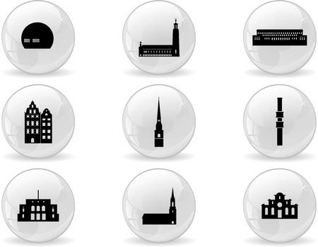 stockholm: Web buttons, landmark icons - Stockholm Illustration