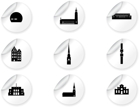 Stickers with landmark icons - Stockholm Stock Vector - 16660245