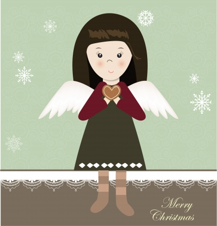 angel girl: Merry Christmas card