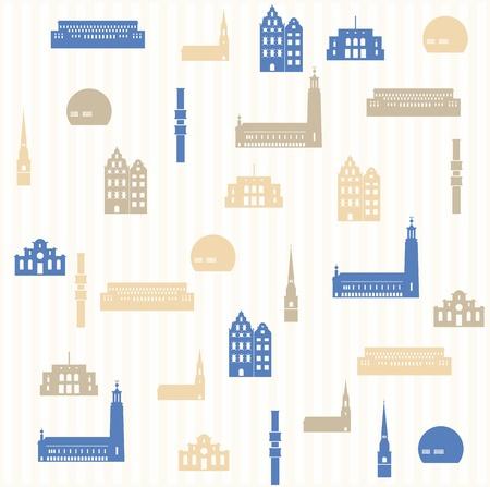 king s: Stockholm seamless pattern Illustration