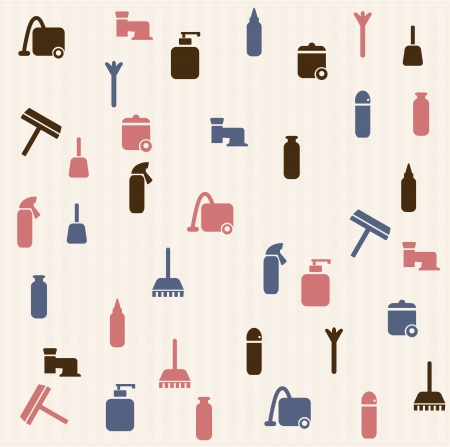 cleaning the house: Cleaning house - seamless  pattern