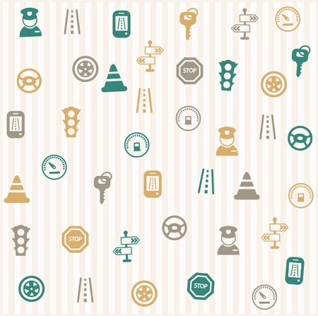 Traffic icons seamless pattern Stock Vector - 16966230