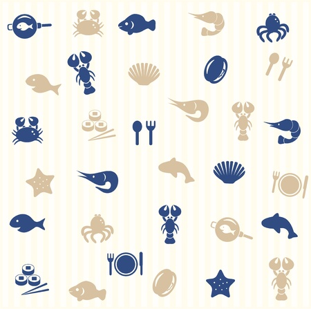 Sea food seamless pattern