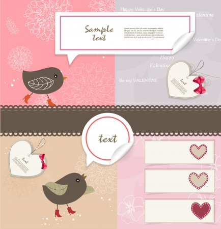 Valentine s Day scrapbook elements Vector