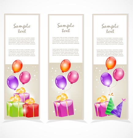 Banners with gift boxes and balloons Stock Vector - 17353873