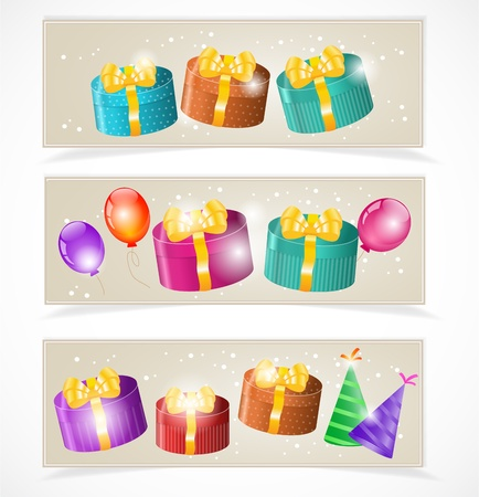 Banners with gift boxes and balloons Stock Vector - 17446468