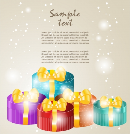new year s card: Gift boxes with gold ribbons
