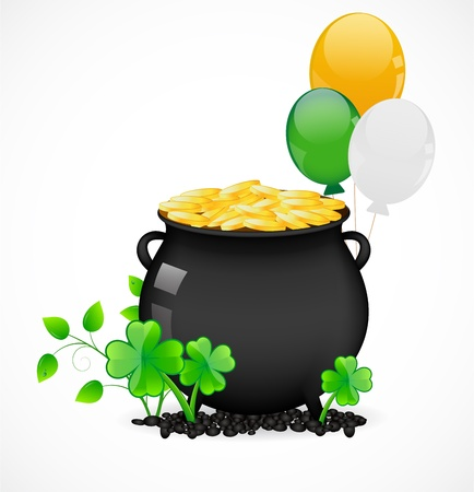 Pot with gold Stock Vector - 17446613