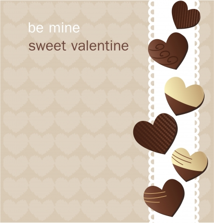 Valentine s Day card with chocolate Vector