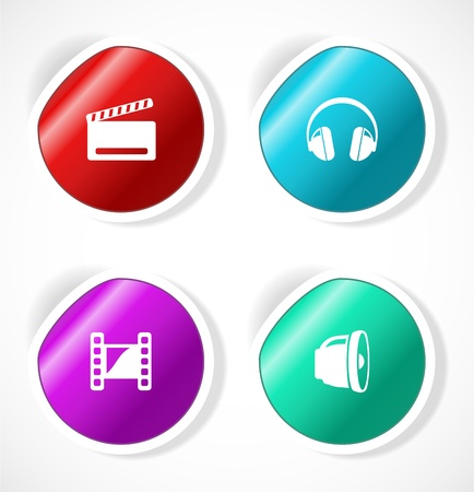 Set of stickers with icons Vector