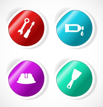Set of stickers with icons Stock Vector - 17598912