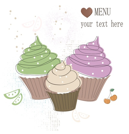 Cupcakes card Stock Vector - 17598984
