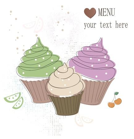 Cupcakes card Stock Vector - 17598984