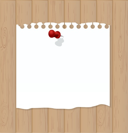 Wooden background with white note paper Stock Vector - 17694771