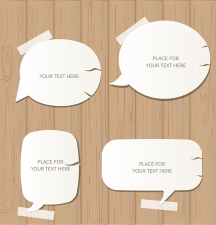 bubble sheet: Wooden background with speech bubbles