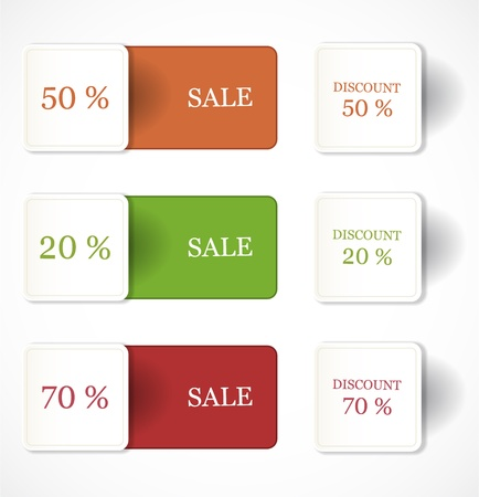 discount coupon: Discount labels and stickers Illustration