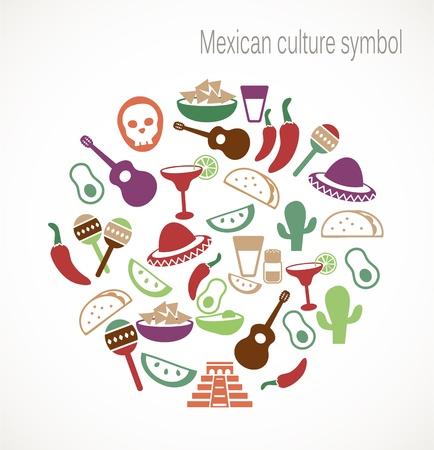 piramide alimenticia: Símbolos de la cultura mexicana Vectores