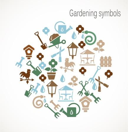 hedge trees: Gardening symbols