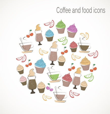bakery price: Coffee and sweet food icons Illustration