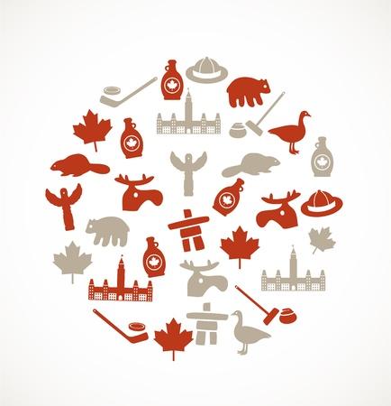 Canadá símbolos Ilustración de vector