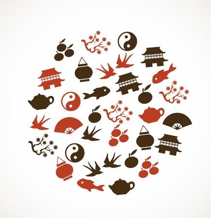 chinese tea: Asian symbols Illustration