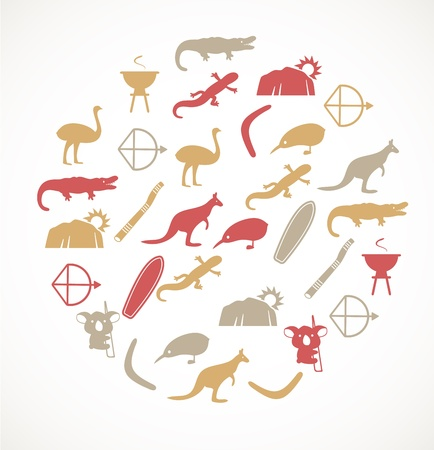 Australian icons Stock Vector - 17924632