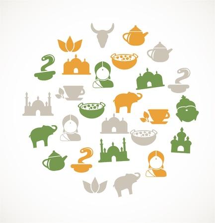 india cow: Indian icons Illustration