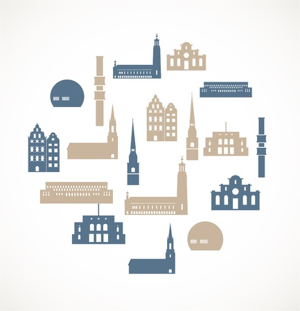 Landmark icons - Stockholm Stock Vector - 17924659