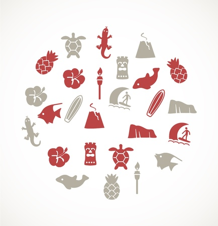 Hawaii icons Vector
