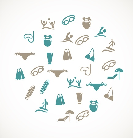 swimming goggles: Swimming icons Illustration