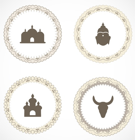 Vintage labels with icons Stock Vector - 18169112