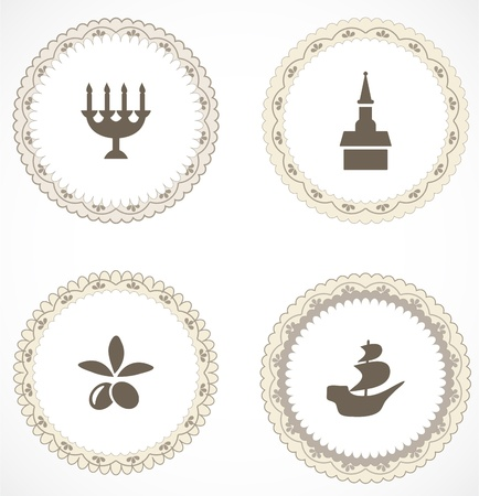 Vintage labels with icons Stock Vector - 18204449